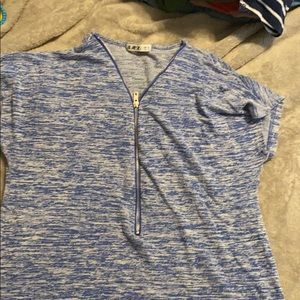 Blue and white zippered top